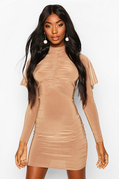 Boohoo High Neck Ruched Front Mini Bodycon Dress in camel