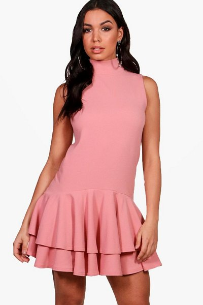 Boohoo High Neck Sleeveless Drop Hem Shift Dress in nude - Dresses are the most-wanted wardrobe item for...