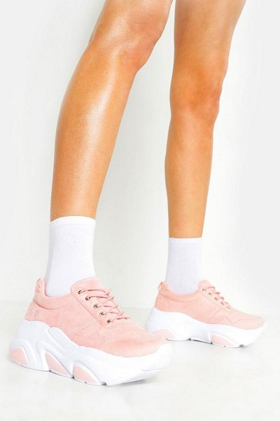 Boohoo Hiker Lace Chunky Sneakers in pink