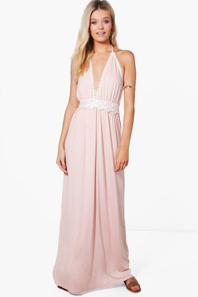 BOOHOO Hollie Crochet Detail Halter Neck Maxi Dress - Take your style to the max with the always gorgeous maxi...