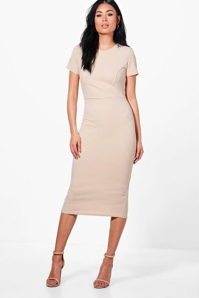 Boohoo Fitted Midi Tailored Dress in stone - Dresses are the most-wanted wardrobe item for...
