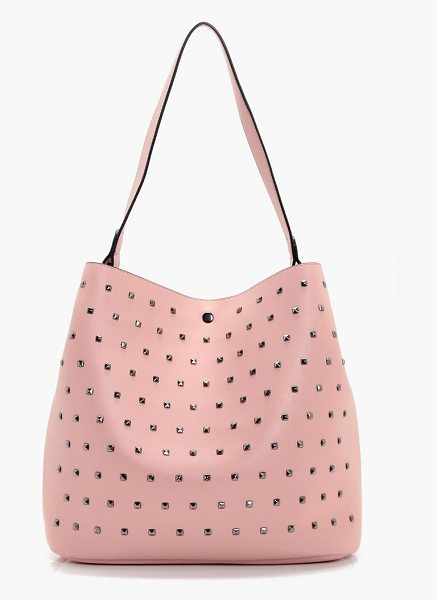 BOOHOO Hollie Square Stud Detail Day Bag in pink - Add attitude with accessories for those fashion-forward...