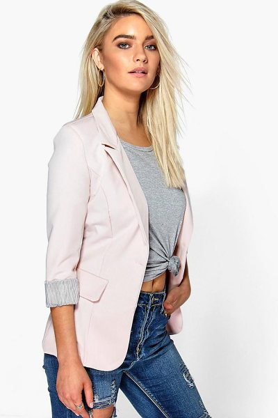Boohoo Turn Up Cuff Woven Blazer in stone - Add some classic tailoring to your wardrobe for...