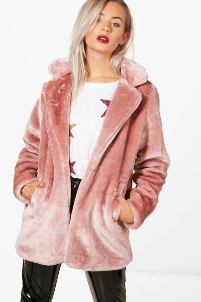 Boohoo Holly Collared Faux Fur Coat in blush - Wrap up in the latest coats and jackets and get...