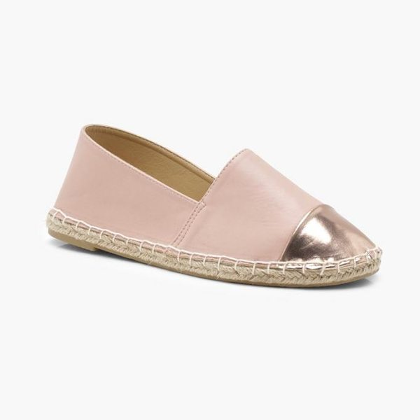 BOOHOO Holly Contrast Toe Cap Espadrille Flats - We'll make sure your shoes keep you one stylish step...