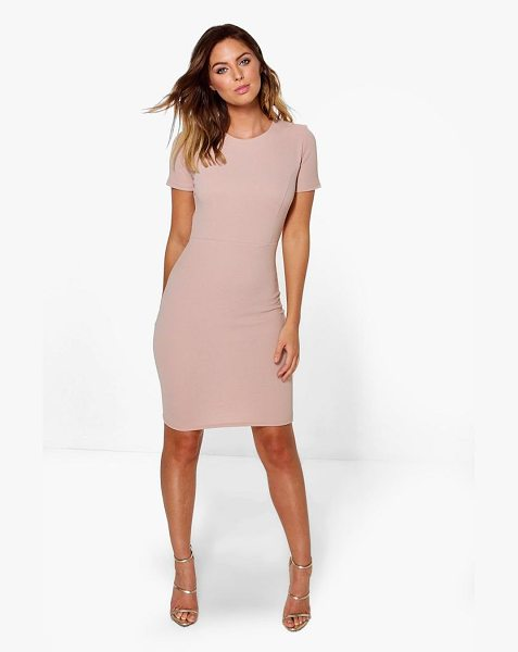 Boohoo Fitted Tailored Dress in nude - Dresses are the most-wanted wardrobe item for...