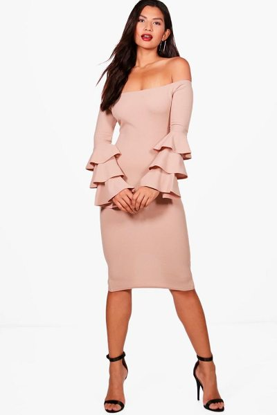 Boohoo Holly Off Shoulder Frill Sleeve Bodycon Dress in stone - Dresses are the most-wanted wardrobe item for...