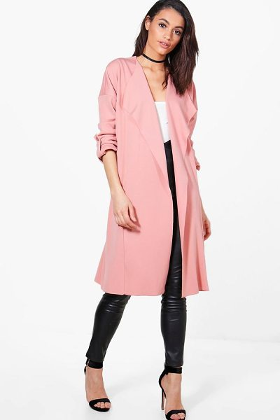 Boohoo Holly Waterfall Duster Jacket in blush - Wrap up in the latest coats and jackets and get...