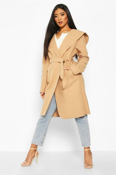 Boohoo Hooded Belted Shawl Coat in camel