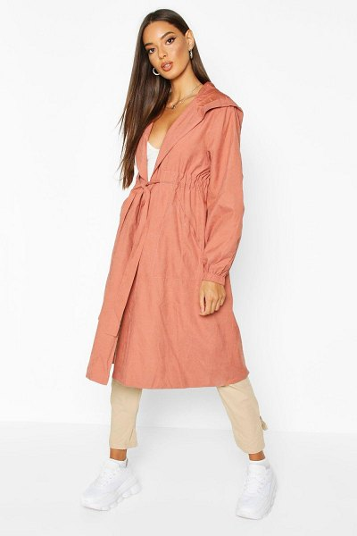Boohoo Hooded Belted Trench Coat in rose