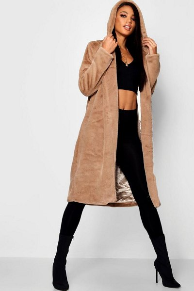 Boohoo Hooded Faux Fur Coat in natural - Wrap up in the latest coats and jackets and get...
