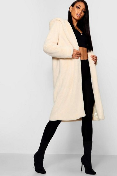 Boohoo Hooded Faux Fur Coat in cream - Wrap up in the latest coats and jackets and get...