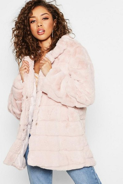 Boohoo Hooded Panelled Faux Fur Coat in beige - Wrap up in the latest coats and jackets and get...