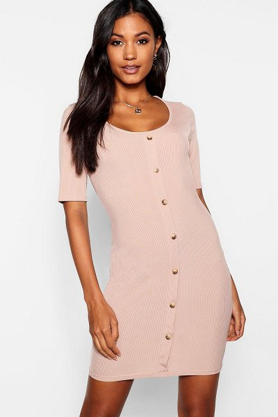 Boohoo Horn Button Half Sleeve Ribbed Mini Dress in toffee