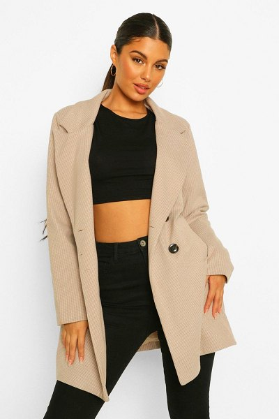 Boohoo Houndstooth Double Breasted Wool Look Coat in stone