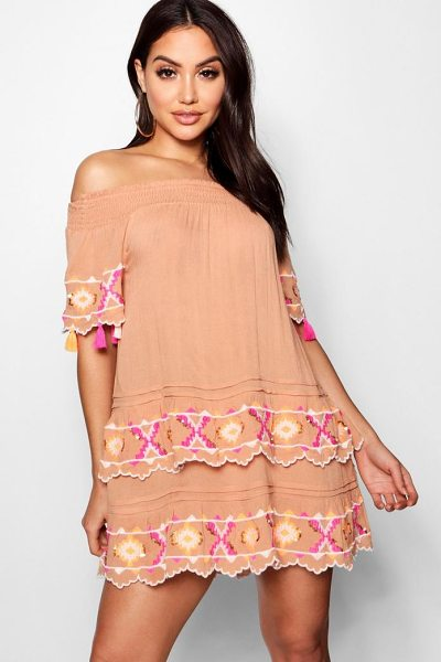 BOOHOO Layered Scallop Embroidered Beach Dress in nude - Make a splash in our stylish swimwearBagging yourself...