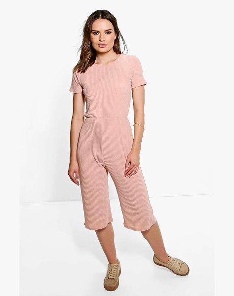 Boohoo Ida Ribbed Capped Sleeve Culotte Jumpsuit in blush - Jumpsuits are your day-to-night dress alternativeYour...