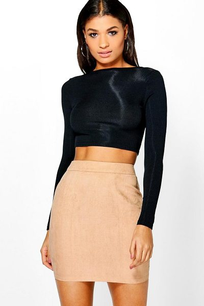 Boohoo Woven Soft Suedette A Line Mini Skirt in sand