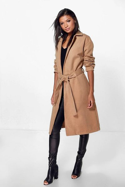 Boohoo Imogen Belted Wool Look Coat in camel - Wrap up in the latest coats and jackets and get...