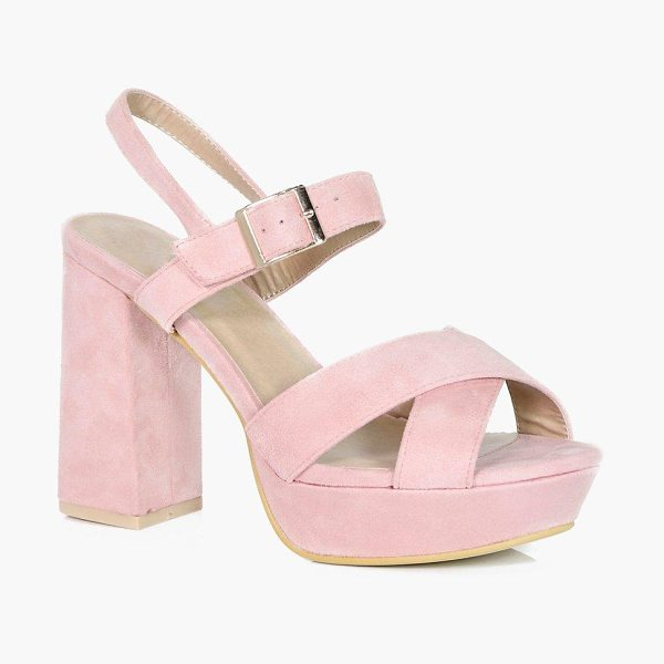Boohoo Imogen Cross Strap Platform Heels in blush - We'll make sure your shoes keep you one stylish step...