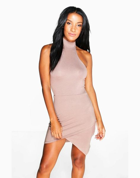 Boohoo Imogen Halter Neck Asymmetric Bodycon Dress in mocha - Pared back day dresses are the perfect base for layering...