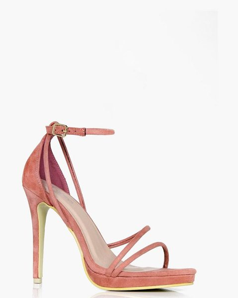 Boohoo Imogen Platform Cross Strap Heels in pink - We'll make sure your shoes keep you one stylish step...