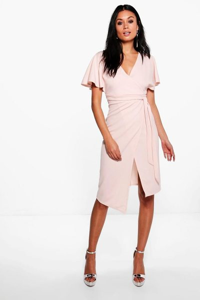 Boohoo Tie Wrap Midi Dress in rose