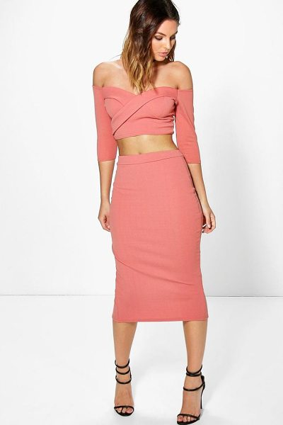 Boohoo Ina Off The Shoulder Crop & Midi Skirt Co-ord in rose - Co-ordinates are the quick way to quirky this seasonMake...