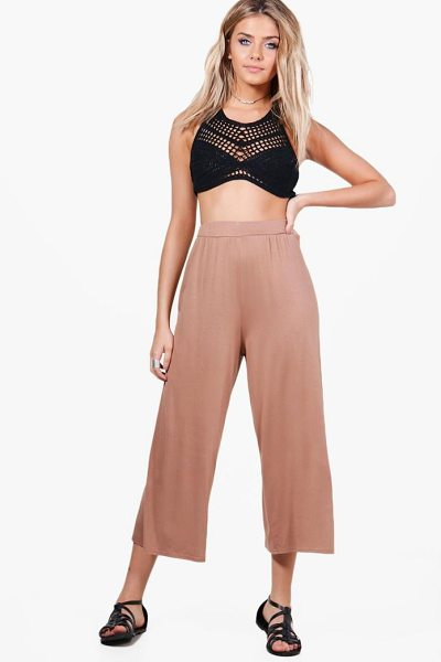 Boohoo Basic Jersey Wide Leg Culottes in camel - Trousers are a more sophisticated alternative to...