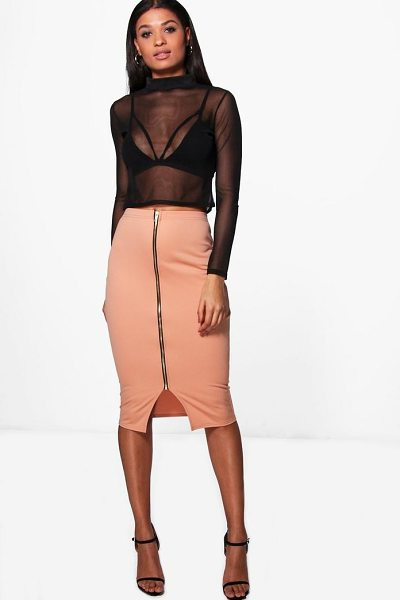 Boohoo India Zip Front Midi Skirt in nude