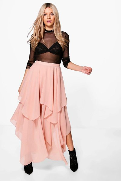 BOOHOO Indie Ruffle Hem High Low Chiffon Maxi Skirt in nude - Indie Ruffle Hem High Low Chiffon Maxi Skirt nude