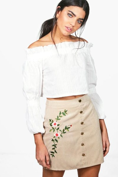 Boohoo Inez Chunky Cord Embroidered Side Skirt in sand - Skirts are the statement separate in every wardrobe This...