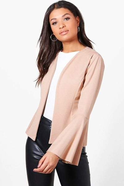 Boohoo Isabella Flare Sleeve Collarless Blazer in stone - Wrap up in the latest coats and jackets and get...