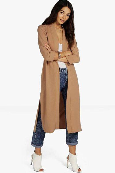 Boohoo Isabella Turn Up Cuff Duster Coat in camel - Wrap up in the latest coats and jackets and get...