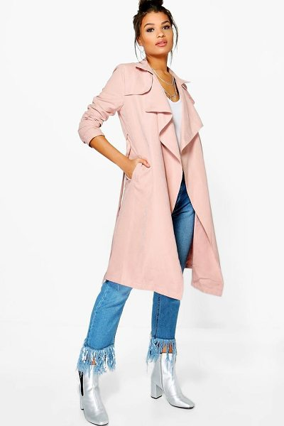 Boohoo Isabella Waterfall Mac in pink - Wrap up in the latest coats and jackets and get...