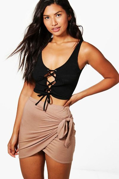 Boohoo Wrap Front Tie Waist Jersey Mini Skirt in camel - Skirts are the statement separate in every wardrobe This...