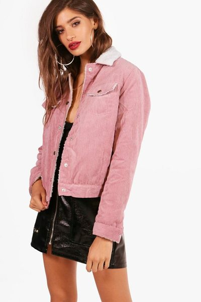 Boohoo Isabelle Cord Trucker Jacket in blush - Wrap up in the latest coats and jackets and get...