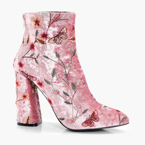 Boohoo Embroidered Velvet Ankle Boot in pink - We'll make sure your shoes keep you one stylish step...