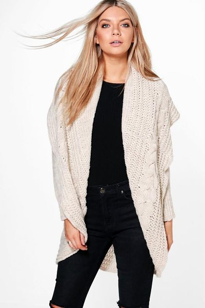Boohoo Loose Cable Knit Oversized Cardigan in beige - Nail new season knitwear in the jumpers and cardigans...