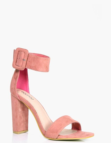 Boohoo Isla Cuff Detail Block Heels in blush - We'll make sure your shoes keep you one stylish step...