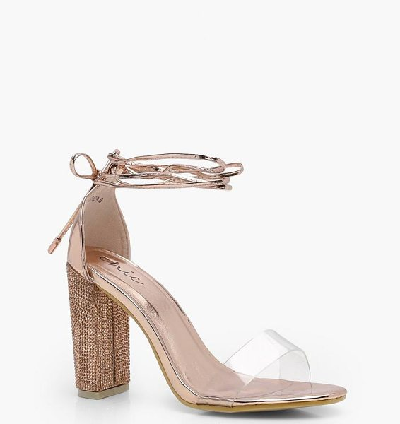 Boohoo Isobel Diamante Lace Up Heel With Clear Straps in rose gold