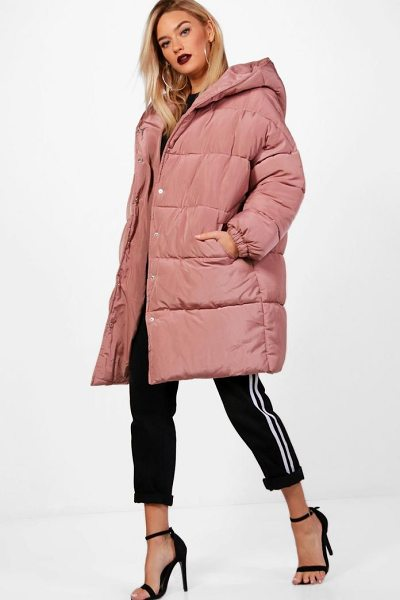 Boohoo Longline Quilted Coat With Hood in dusky pink - Just because it's raining outside doesn't mean you have...