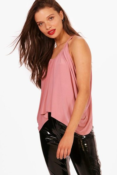 Boohoo Isobel Ruched Drop Arm Cami in rose - Steal the style top spot in a statement separate from...