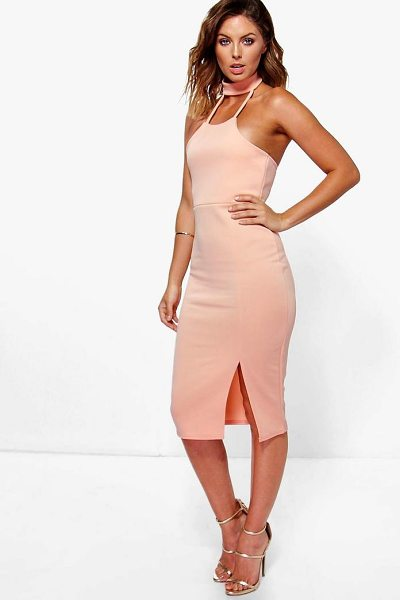 Boohoo Issy Choker Detail Side Split Midi Dress in peach - Dresses are the most-wanted wardrobe item for...