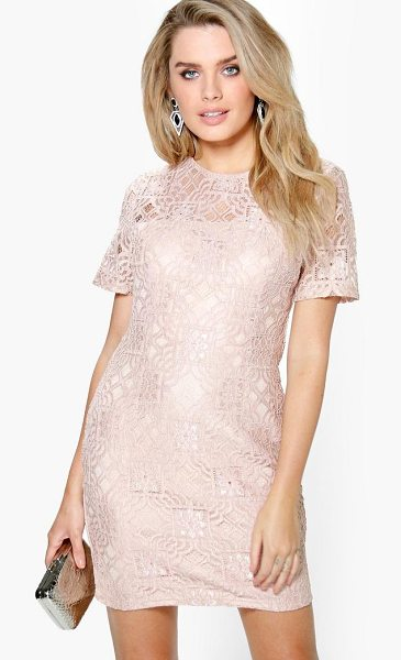Boohoo Ivy All Over Lace Shift Dress in blush - Dresses are the most-wanted wardrobe item for...