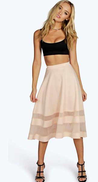 Boohoo Ivy Double Mesh Midi Skirt in nude - Nothing says statement like a stellar evening...