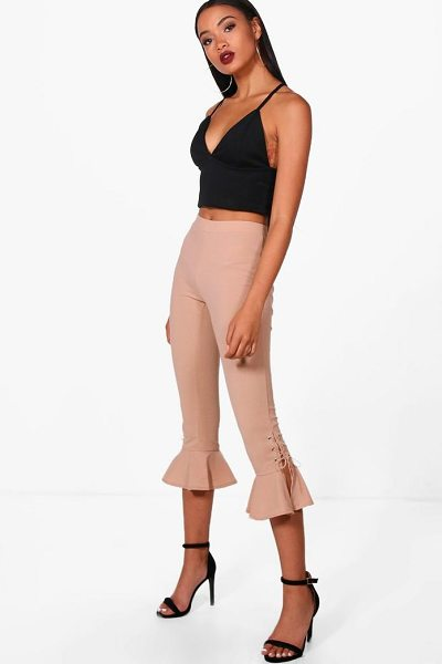 Boohoo Lace Up & Frill Hem Trousers in beige - Trousers are a more sophisticated alternative to...