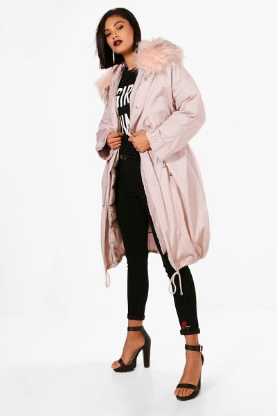 Boohoo Parka With Faux Fur Trim & Detachable Lining in pink - Wrap up in the latest coats and jackets and get...