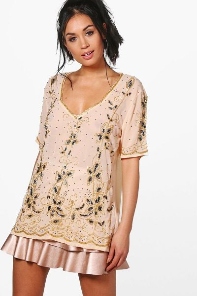 Boohoo Izzy Embellished Plunge T-Shirt in nude - Steal the style top spot in a statement separate from...