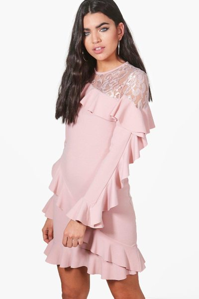 Boohoo Jackie Lace and Frill Bodycon Dress in rose - Jackie Lace and Frill Bodycon Dress rose